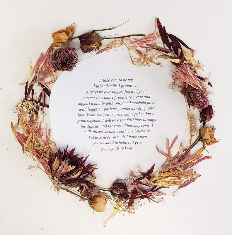 Dried wedding flowers with vows