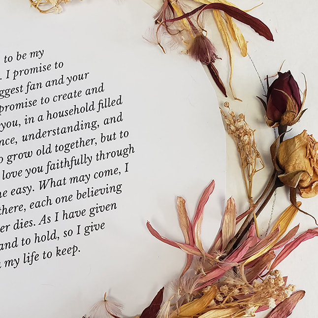 Close up of dried wedding flowers