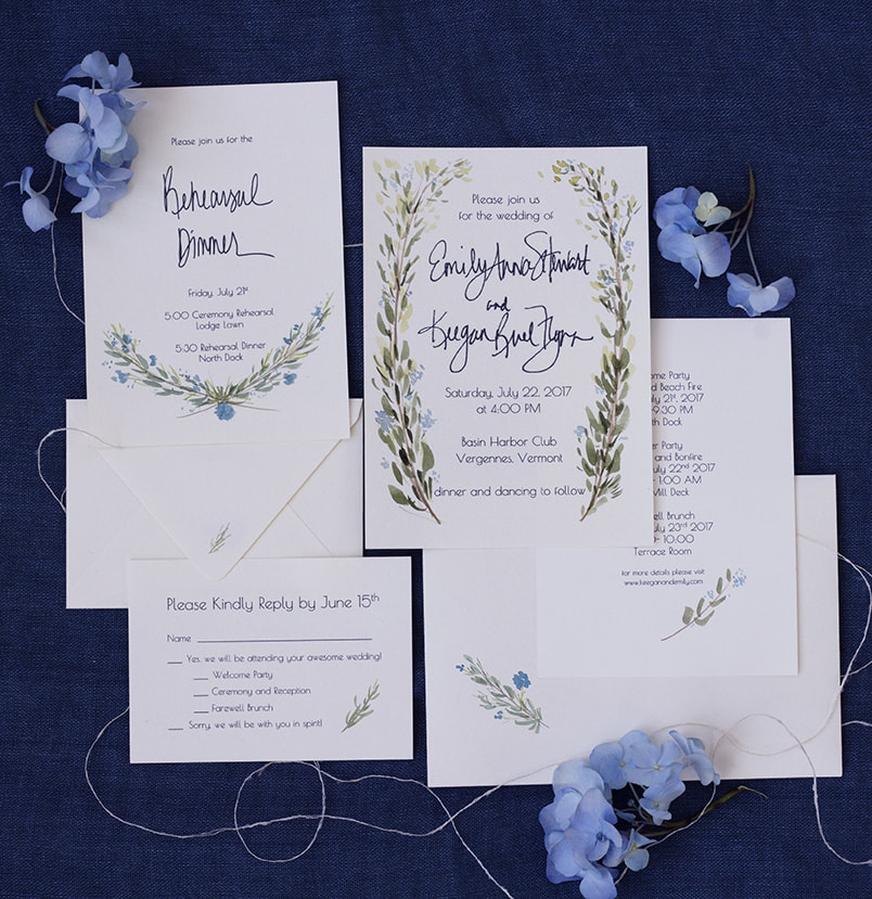 Hand painted wedding invitations by Flora-Ly Studios