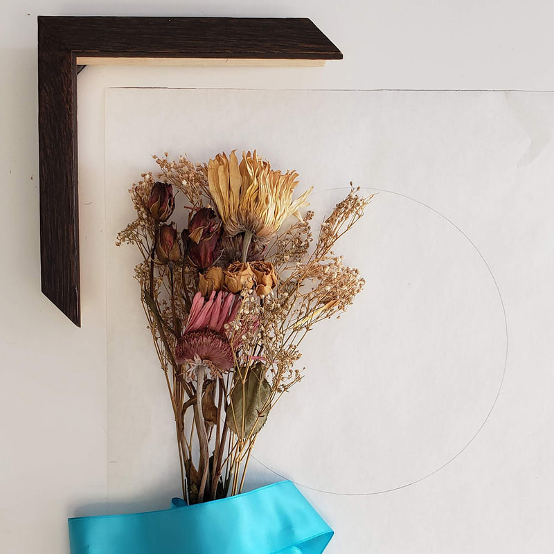 Creating a shadow box for dried wedding bouquet