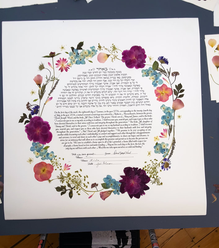 Pressed flower botanical collage from wedding bouquet.