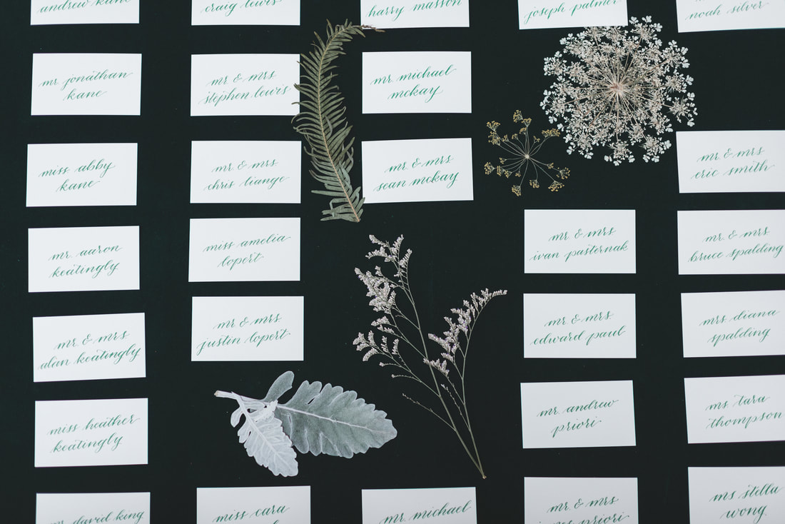 Pressed queen anne's lace and astilbe make a gorgeous display with wedding place cards