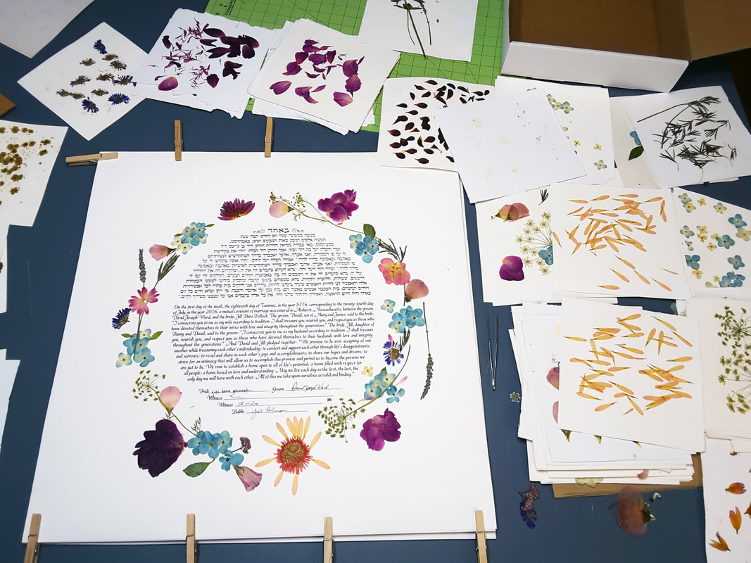 Keep your wedding flowers forever. Frame them with your ketubah.
